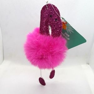 Accessories - NWT Flamingo Pom Pom Fluffy Key Chain Purse Charm